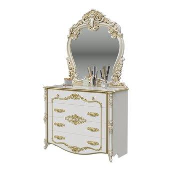 Комод с зеркалом Дольче Вита цвет белый глянец с золотом