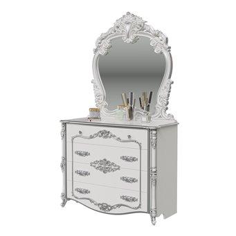 Комод с зеркалом Дольче Вита цвет белый глянец с серебром