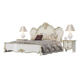 Кровать 1800 Дольче Вита с ортопедическим основанием и двумя тумбами цвет белый глянец с золотом