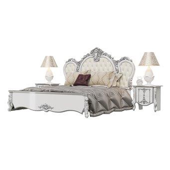 Кровать 1800 Дольче Вита с ортопедическим основанием и двумя тумбами цвет белый глянец с серебром