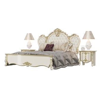 Кровать 1800 Дольче Вита с ортопедическим основанием и двумя тумбами цвет слоновая кость/золото