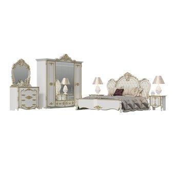 Спальня Дольче Вита 1ОРТ цвет белый глянец с золотом