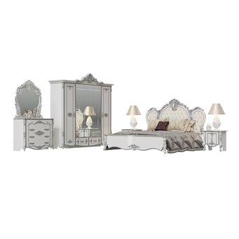 Спальня Дольче Вита 1ОРТ цвет белый глянец с серебром