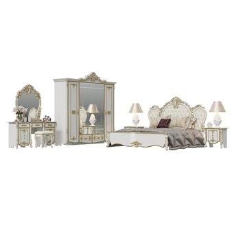 Спальня Дольче Вита 2ОРТ цвет белый глянец с золотом