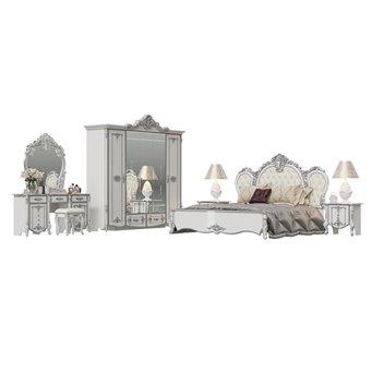 Спальня Дольче Вита 2ОРТ цвет белый глянец с серебром