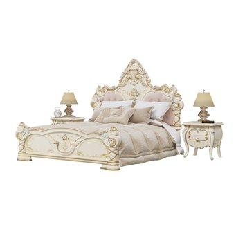 Кровать 1800 Людовик с основанием и двумя тумбами цвет слоновая кость кракелюр, ручная роспись цветными патинами и золотом