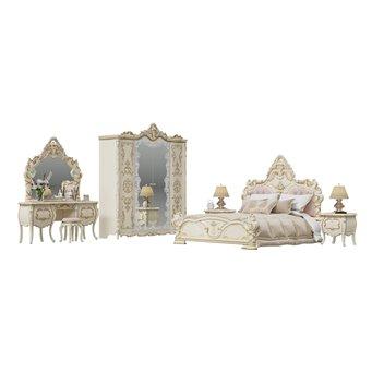 Людовик Спальня № 1 цвет слоновая кость кракелюр, ручная роспись цветными патинами и золотом