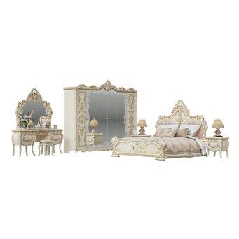 Гарнитур спальный Людовик № 2 цвет слоновая кость кракелюр, ручная роспись цветными патинами и золотом