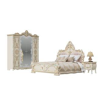Спальня Людовик № 4 цвет слоновая кость кракелюр, ручная роспись цветными патинами и золотом