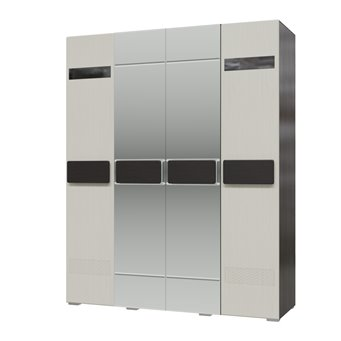 Шкаф 4-х дверный с зеркалами Престиж цвет венге цаво/жемчужный лён