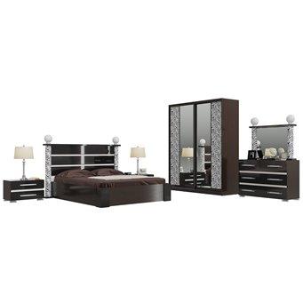 Гарнитур спальный Сан-Ремо 02ПОРТ цвет венге цаво/чёрный глянец