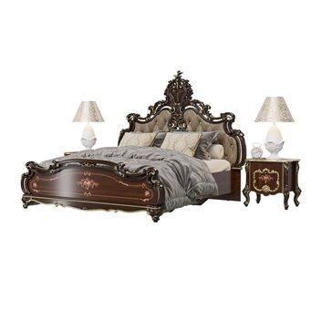 Кровать с основанием 1800 и двумя тумбочками Шейх цвет орех тайский