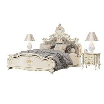 Кровать с основанием 1800 и двумя тумбочками Шейх цвет слоновая кость