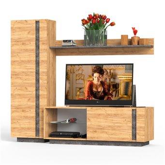 Арчи мебель в гостиную № 8 цвет дуб крафт золотой/камень тёмный