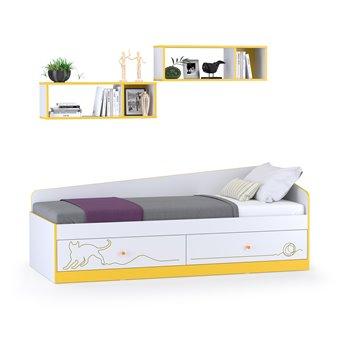 Детская кровать с ящиками и полками Альфа цвет солнечный свет/белый премиум