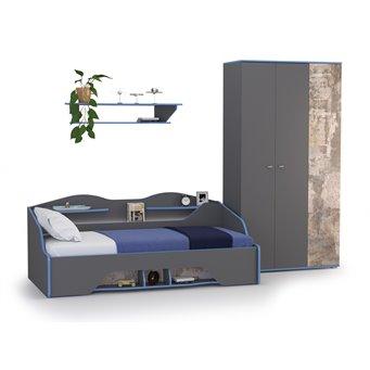 Индиго кровать + полка + шкаф + основание цвет тёмно серый/граффити
