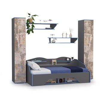 Индиго кровать с основанием с полками и пеналами № 12 цвет тёмно серый/граффити