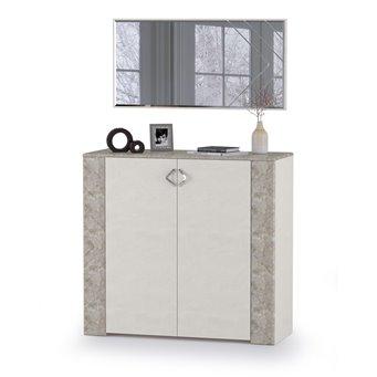 Комод с дверками с зеркалом Амели Моби цвет шёлковый камень/бетон чикаго беж