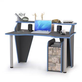 Компьютерный стол Индиго с тумбой 10.94 цвет тёмно серый/граффити