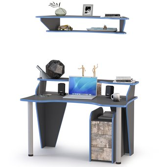 Компьютерный стол с тумбой и верхней полкой Индиго цвет тёмно серый/граффити