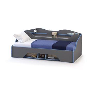 Кровать с основанием и выдвижным ящиком Индиго цвет тёмно серый/граффити