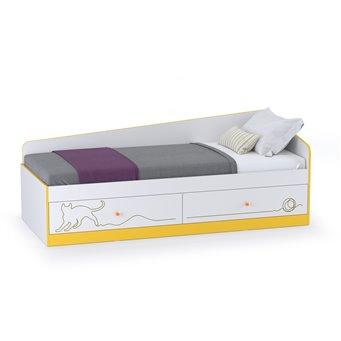 Кровать с ящиками Альфа 11.21 цвет солнечный свет/белый премиум