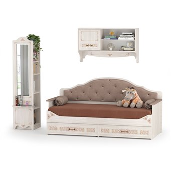 Кровать с ящиками с навесной полкой и пеналом с зеркалом Флоренция, цвет ясень анкор светлый