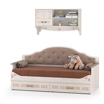Кровать с ящиками с навесной полкой Флоренция, цвет ясень анкор светлый