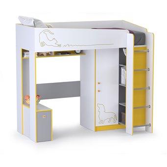 Кровать-чердак Альфа 11.20 цвет солнечный свет/белый премиум/стальной серый/тёмно-серый
