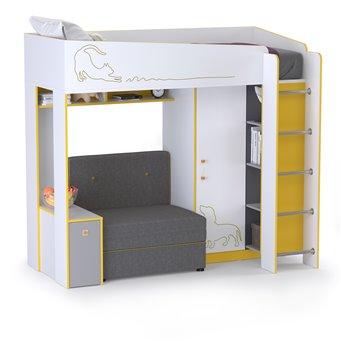 Кровать-чердак с диванным блоком Альфа цвет солнечный свет/белый премиум/стальной серый