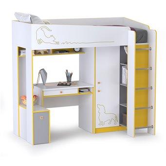 Кровать-чердак со столом Альфа цвет солнечный свет/белый премиум/стальной серый