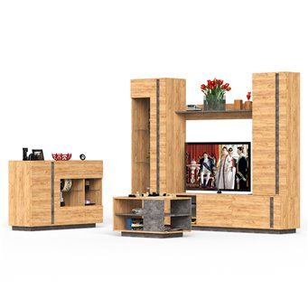 Мебель в гостиную Арчи комплектация 6 цвет дуб крафт золотой/камень тёмный
