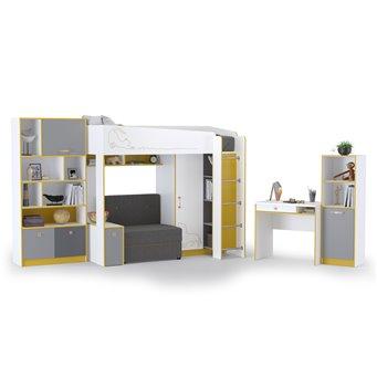 Мебель для детской комнаты Альфа № 26 цвет солнечный свет/белый премиум/стальной серый/тёмно-серый