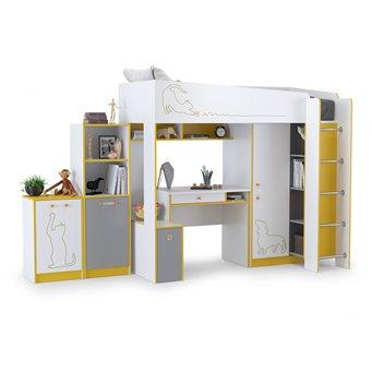 Набор мебели в детскую Альфа № 7 цвет солнечный свет/белый премиум/стальной серый/тёмно-серый