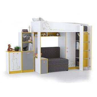 Набор мебели в детскую Альфа № 8 цвет солнечный свет/белый премиум/стальной серый/тёмно-серый