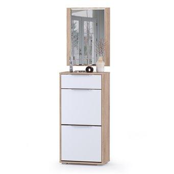 Обувница высокая с ящиком и зеркалом Куба цвет дуб сонома/белый премиум