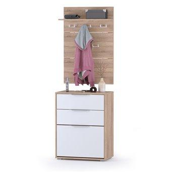 Обувница с ящиками с вешалкой для одежды Куба цвет дуб сонома/белый премиум