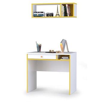 Письменный стол Альфа 12.41 с полкой цвет солнечный свет/белый премиум