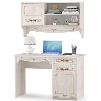 Письменный стол с полкой Флоренция, цвет ясень анкор светлый