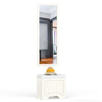Пуф с высоким зеркалом Ливерпуль цвет ясень ваниль/белый/эко-кожа гранд белый