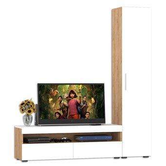 Тумба для ТВ с пеналом Альба цвет дуб крафт золотой/белый премиум