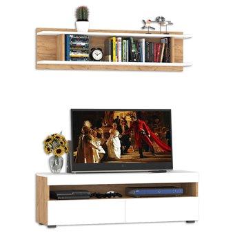 Тумба для ТВ с полкой Альба цвет дуб крафт золотой/белый премиум