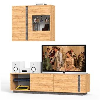 Тумба ТВ с навесным шкафом Арчи 10 цвет дуб крафт золотой/камень тёмный