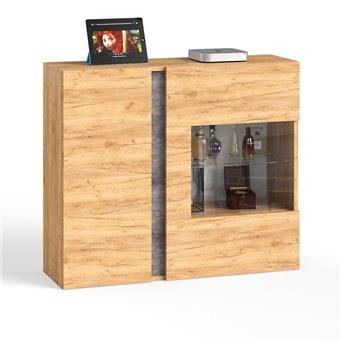 Шкаф навесной со стеклом Арчи 10.60 цвет дуб крафт золотой/камень тёмный, есть подсветка