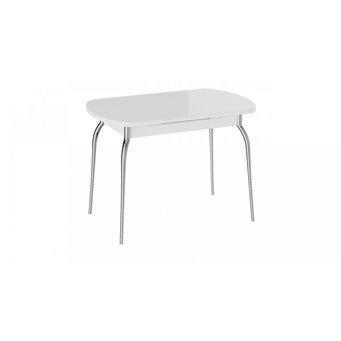 Стол обеденный раздвижной со стеклом Рио (белый)