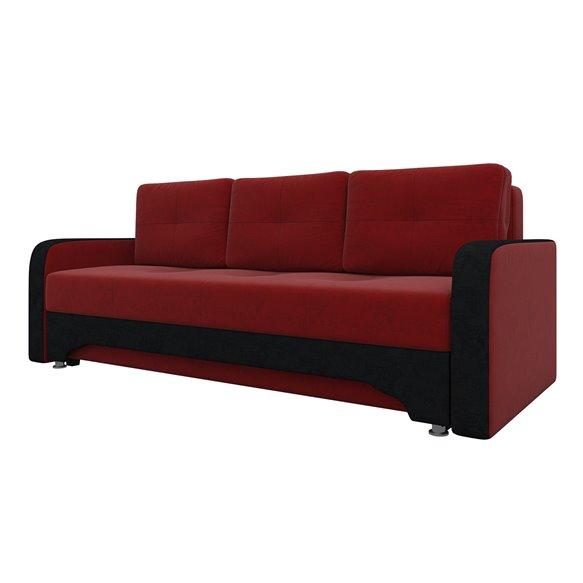 Диван Ник-3 Вельвет Красный+Черный