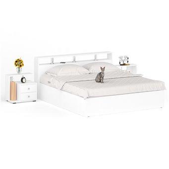 Кровать 1800 Камелия + две тумбы белый