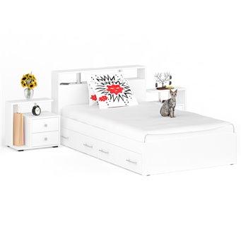 Кровать с ящиками 1200 Камелия + две тумбы белый