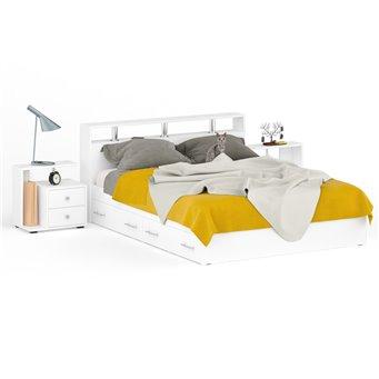 Кровать с ящиками 1600 Камелия + две тумбы белый