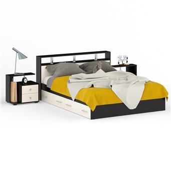 Кровать с ящиками 1600 Камелия + две тумбы венге/дуб лоредо